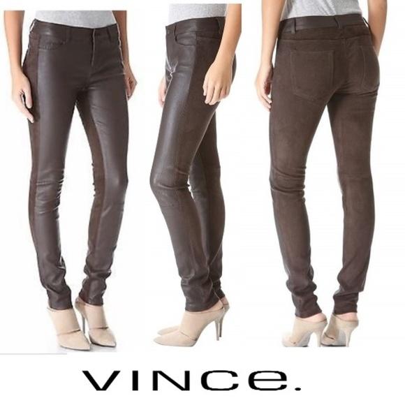 Vince Denim - NWOT VINCE Suede & Leather Stretch Skinny Jeans